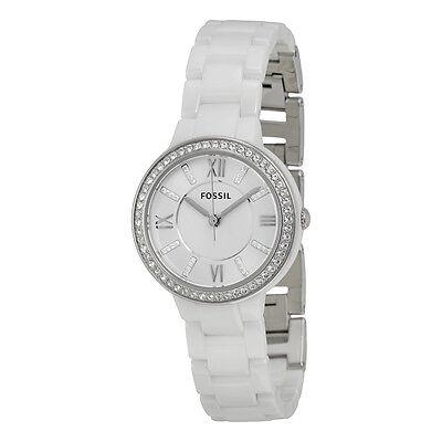 Fossil Virginia Silver Dial White Ceramic Ladies Quartz Watch CE1086