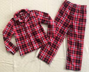 baf10c72e4 Boys Arizona Jeans 2 Piece Pajama Set Size Small 6 7 Black Red Plaid ...