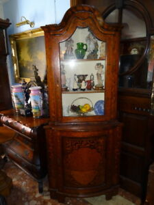 Pair-Antique-Irish-Marquetry-Large-Corner-Display-Cabinets-Dome-Tops-Inlaid