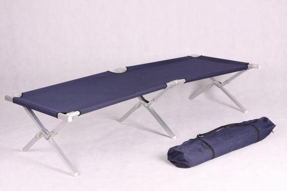 2 trozo de aluminio campo cama cama de camping cama plegable tumbona con bolsa de transporte azul