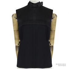 Celine Luxurious Black Silk Satin Contrasting Fabric Stand Collar Top FR40 UK12