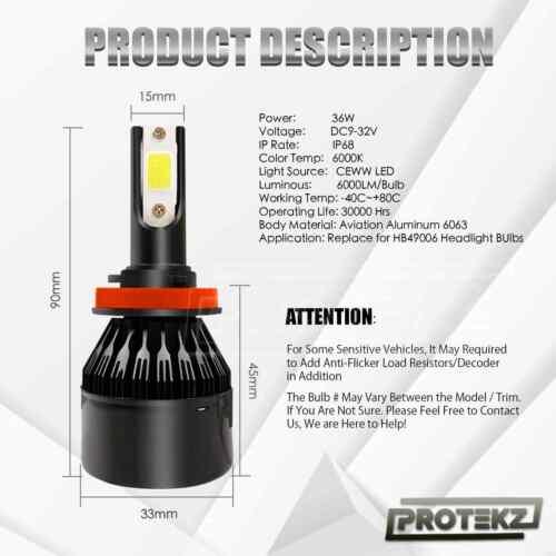 6K LED HID Headlight Protekz Conversion kit H7 6000K for BMW 328i 1999-2016