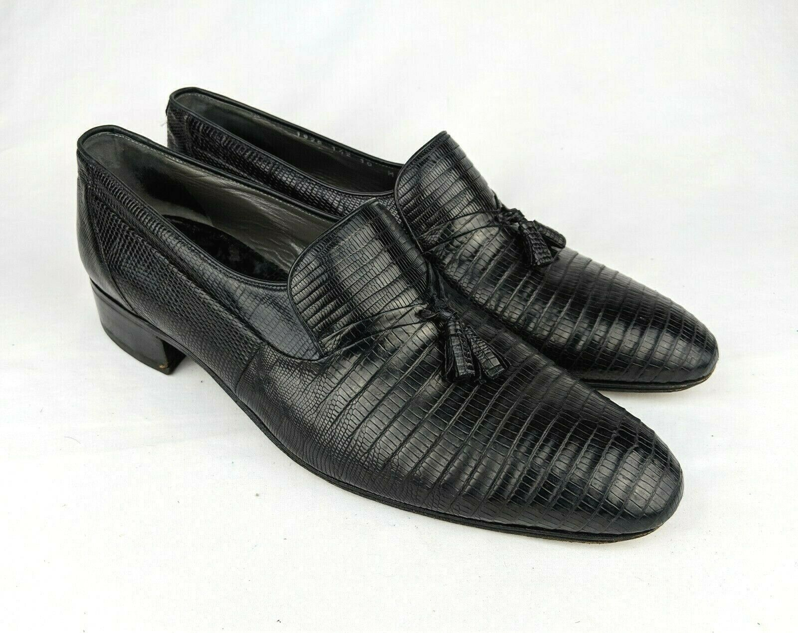 Mauri Made in  nero Lizard skin Tassel Loafers Men's 10M GUC Exquisite