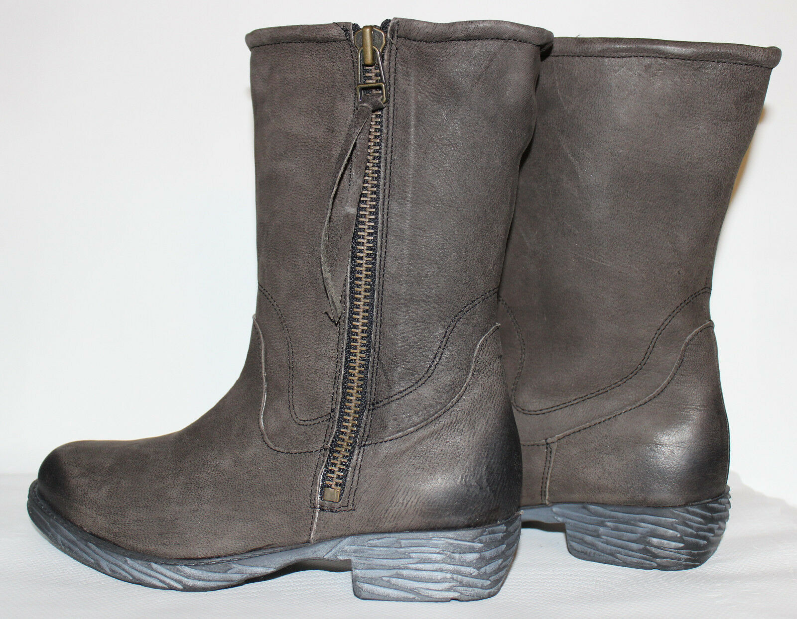 STEVEN Steve Madden Madeira Charcoal Premium Leder Leder Premium Zip Stiefel 7 M NEW  L@@K C4 f59c7d