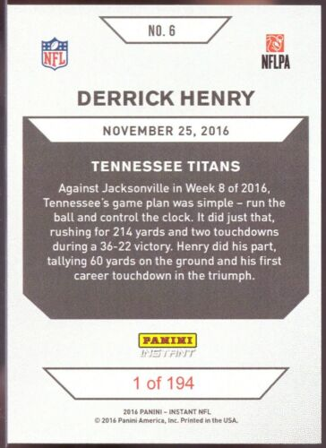 2016 Panini Instant Black Friday #6 Derrick Henry Rookie Card Only 194 made!