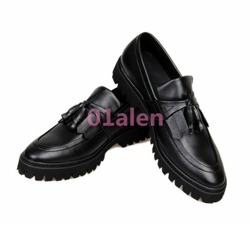 2019 Retro Uomo Platform Dress Formal OxfordS Brogue Tassel Pelle Pelle Pelle Loafer shoe 2715d3