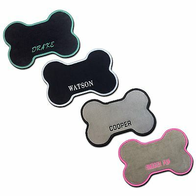 Custom Dog Bone Floor Mat - Food Water Bowl Mat - Personalized Pet Name Monogram