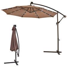 10u0027 Hanging Solar LED Umbrella Patio Sun Shade Offset Market W/Base Tan