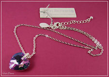 JON RICHARD. SWAROVSKI PURPLE CRYSTAL HEART SILVER PENDANT NECKLACE. PRICED £20.