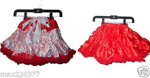 New tutu pettiskirt hearts red skirt girl Valentines reversible 2sided 3-5 yrs
