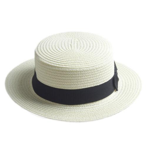 Children Kids Girls Straw Boater Hat Summer Beach Sun Boonie Cap Black Ribbons