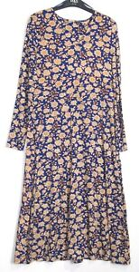 New-Marks-amp-Spencer-Fit-amp-Flare-Floral-Print-Jersey-Midi-Dress-8-22