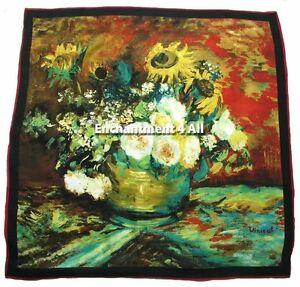 """Marque Populaire Grand 100% Pure Soie Art Écharpe Handrolled Van Gogh """" Bol W/tournesols """" Dissipation Rapide De La Chaleur"""