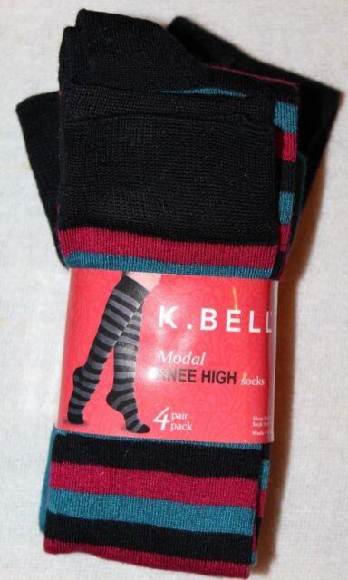 2a08298c3 K.Bell Women s Modal Knee High Striped Socks Red Blue Black 4 Pairs Sz 9