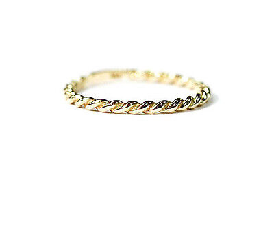 14K Solid Gold YELLOW Thin Braided Ring Twist Band Midi 1.3mm Continuously