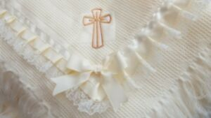 embroidered personalised free Baby Christening frilly ivory shawl applique