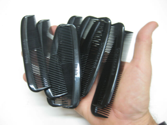 20 - UNBREAKABLE BULK HEAVY DUTY BLACK PLASTIC MEN'S POCKET HAIR COMBS USA MADE