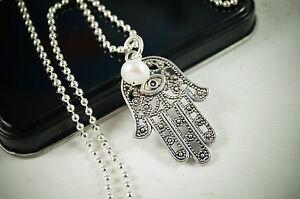 Halskette-Hamsa-Hand-der-Fatima-Suesswassperle-silber-Kette-Lang-Kugelkette