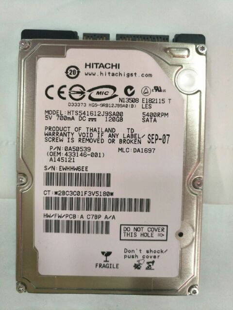"Hitachi120G 5400RPM Internal,6.35 cm (2.5"") (HTS542512K9SA00) nootbook HDD"