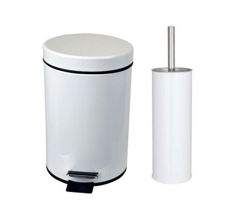 Bathroom Pedal Bin /& Toilet Brush Colour Match Accessory Set Stainless Steel 2Pc