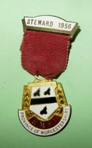 Medaille-maconnique-Britannique-Province-of-Worcestershire-STEWARD-1956