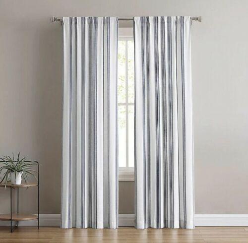 Blue 40x84 each pannel Flannery Light Filtering 2Pk Window Curtain Panels