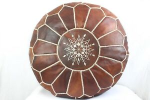 Free-Express-Shipping-MOROCCAN-POUF-GENUINE-LEATHER-POUF-OTTOMAN-FOOTSTOOL