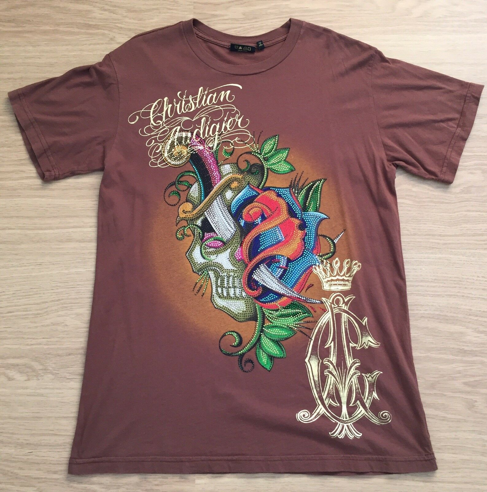 Twice Worn Men's Vintage Christian Audigier T-Shirt. Brown. Medium. RRP