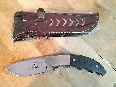 New Browning Micarta Big Game Knife, Fixed Blade with Leather Case, Model 642
