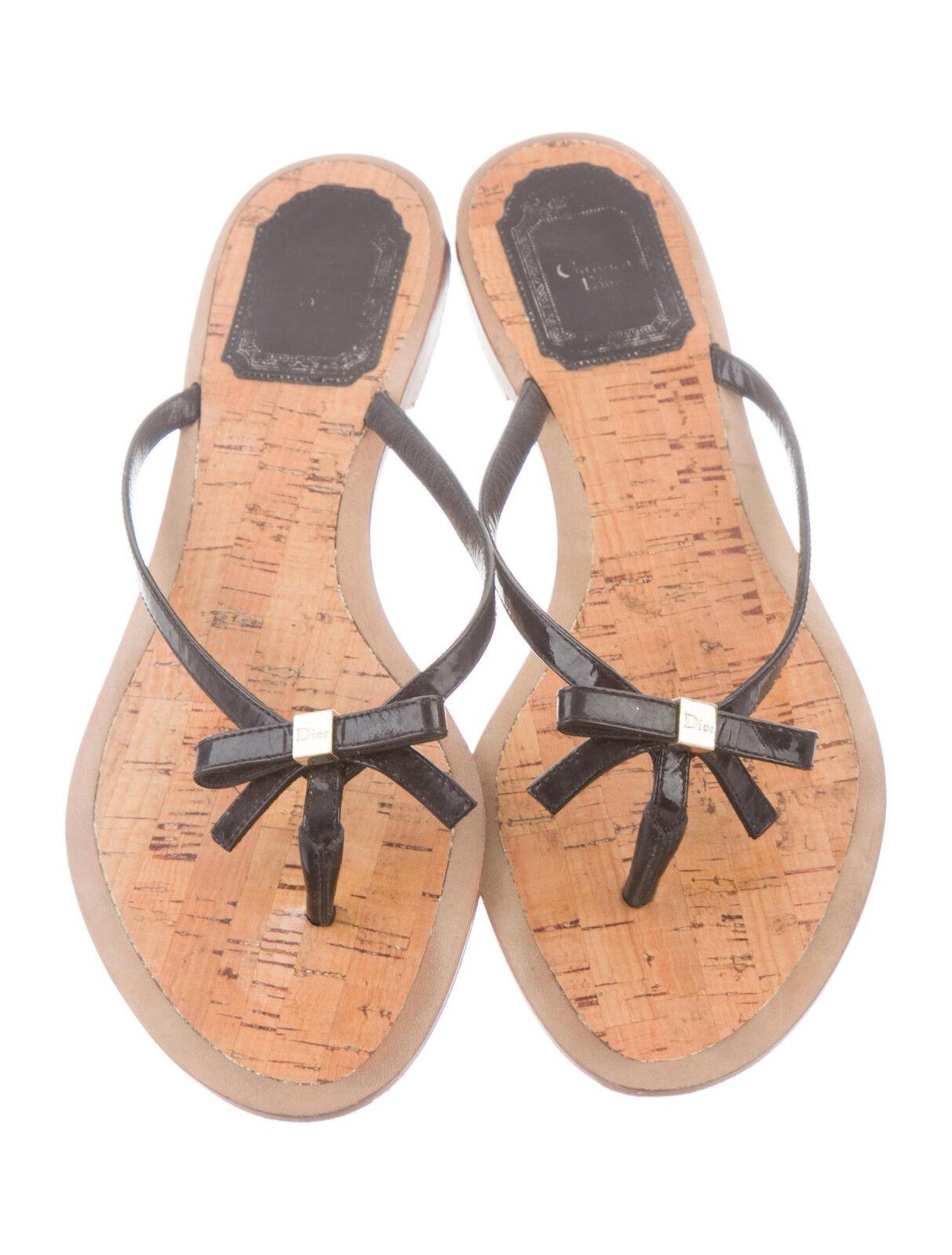 Christian Dior Flip Flop Sandalias Charol Charol Charol Negro Arco De Corcho  550 6.5 36.5  descuento online