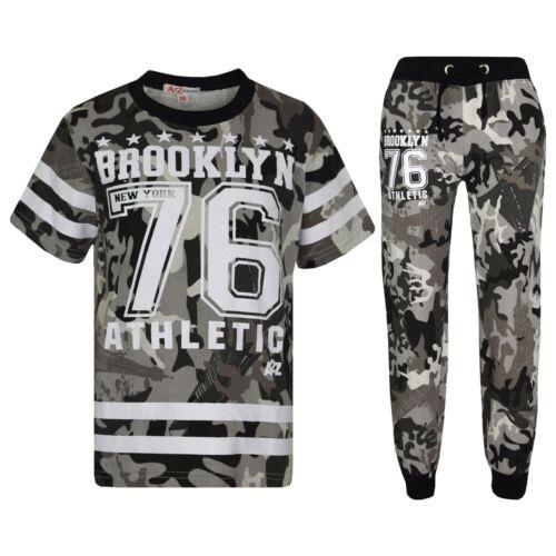 Kids Boys Designer Brooklyn 76 Camouflage T Shirt Tops Trouser Tracksuit 5-13 Yr