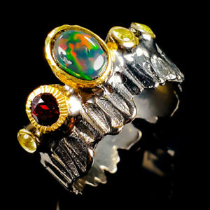 Women-Jewelry-Natural-Black-Opal-925-Sterling-Silver-Ring-Size-8-5-R115002