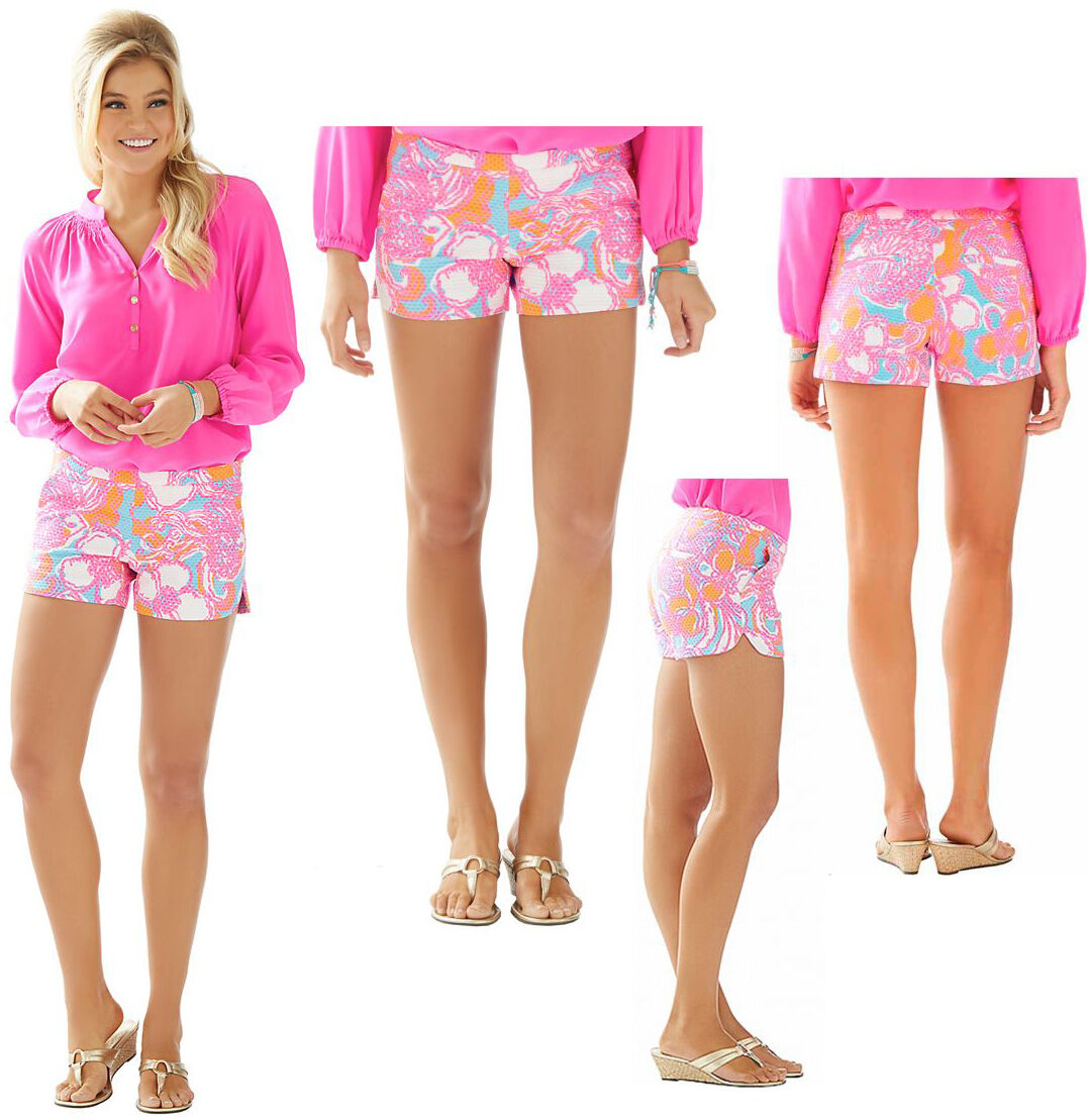 68 Lilly Pulitzer Adie Shorely bluee Feeling Tanked Print Pique Shorts