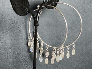 925-Sterling-Silver-Large-Hoop-Earrings-50mm-Rainbow-Moonstone-Gemstone-Natural