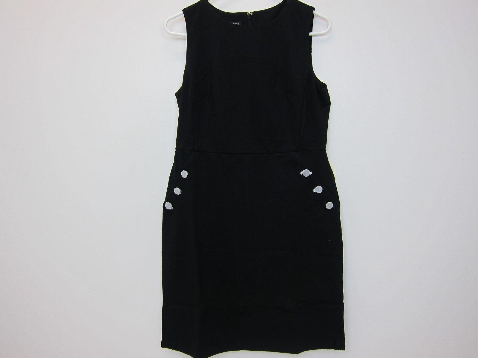 Talbots Woherren Button-Pocket Ponte Dress 10P schwarz  NWT