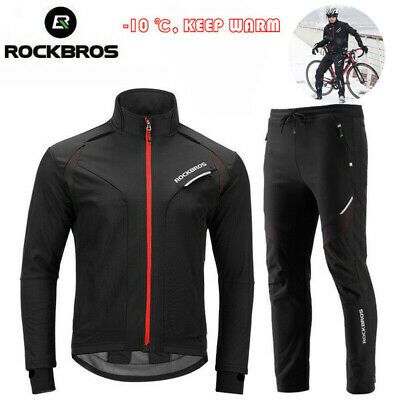 RockBros Cycling Suit Windproof Winter Thermal Fleece Jersey /& Pants Black Red