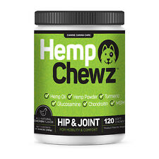 Hip & Joint Supplement for Dogs With 100 Organic Hemp Oil Glucosamine 120 Ct