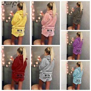abc1a0563e Women Cat MEOW Pajama Set Fleece Flannel Warm Homewear Sleepwear Top ...