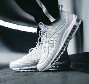 Details about Nike Air Max 98 Triple White Size 8 UK BNIB Genuine Authentic Mens Trainers 97 1