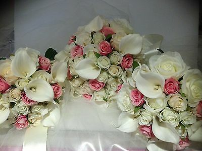 IVORY WHITE PINK CALLA LILY VINTAGE 10 PCE WEDDIN ROSE BOUQUET ARTIFICAL  FLOWER