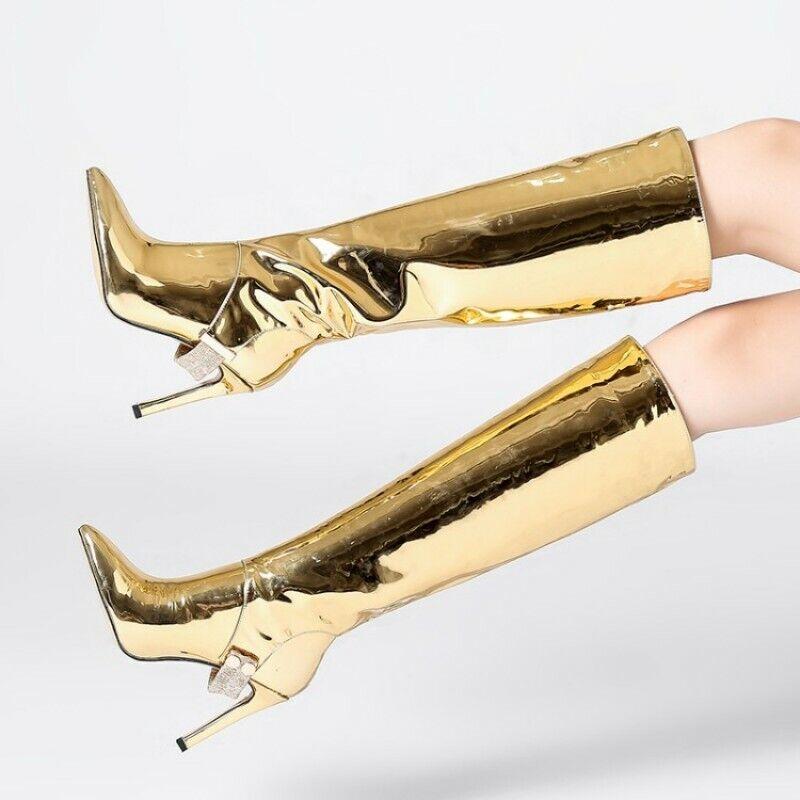 Lackleder Glitzer Metallish Kniehoch Damen Stilettoabsatz Spitz Zehe Stiefel