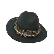 2ecc361c035 Fashion Vintage Womens Fedora Felt Wool Feather Skull Trim Wide Brim Floppy  Hat
