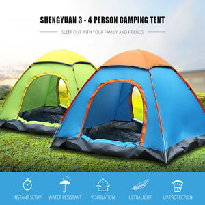 Image is loading 2-4-Person-POP-UP-TENT-Festival-Travel- & 2-4 Person POP UP TENT Festival Travel Camping Tent Quick Instant ...