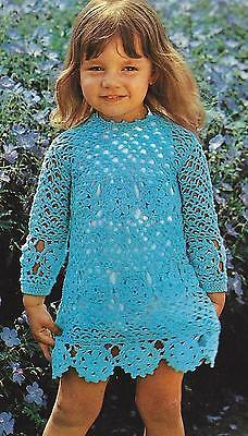 """Girls Dress Crochet Pattern Very Pretty in 4ply 21-25"""" 695"""