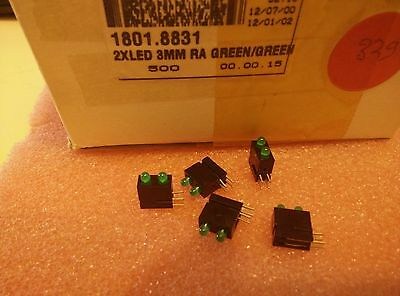 5x DIALIGT//ELMA 551-0207-810 GREEN LED 3mm RIGHT ANGLE 5X09-1161-60