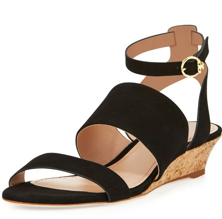 Authentic Tory Burch North Suede Low-Wedge Sandal. Festival Summer Vibes.