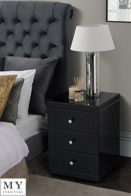 Black mirrored glass high gloss bedside table cabinet 3 drawer ebay my furniture black mirrored glass bedside table cabinet 3 drawer chelsea black watchthetrailerfo