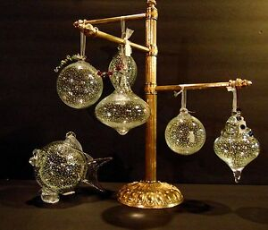 Glass Holiday Ornament Fish Ball Bell Shell Hand Blown Glow In Dark Snow NEW USA