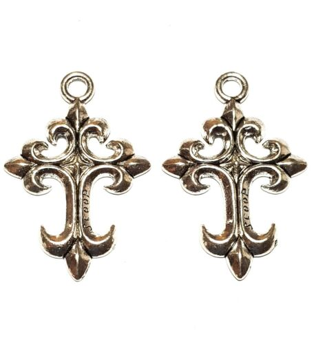 2 x Large Silver Tone Cross Charms For Pendants or Earrings Jewellery Findings
