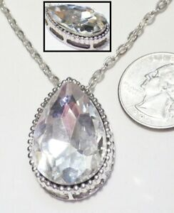 Striking-Large-Faceted-Teardrop-Crystal-Pendant-Necklace-Silvertone-Chain-18-034